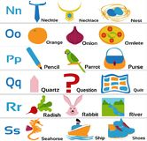 Kindergarten-alphabets-nopqrs for small children Royalty Free Stock Photo