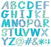 Alphabets. Uppercase blue design alphabets and symbols Royalty Free Stock Photo