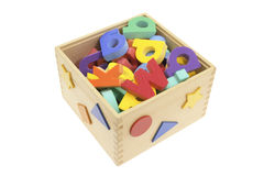 Alphabets in Wooden Box Stock Image