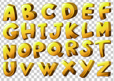 Alphabets in yellow color Royalty Free Stock Photos