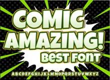Alphabetsammlungssatz Komischer Knall Art Style Buchstaben, Zahlen und Zahlen für Kinderillustrationen, Bücher Lizenzfreie Stockfotos