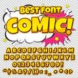 Alphabetsammlungssatz Komischer Knall Art Style Helle Farbversion Buchstaben, Zahlen und Zahlen für Kinder Lizenzfreie Stockbilder