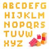 Alphabetsatz gemacht von den Bauklötzen lokalisiert lizenzfreie abbildung