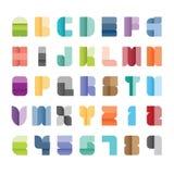 Alphabetsatz, Vektorillustration Papierfarbenart der Schriftart Stockfoto