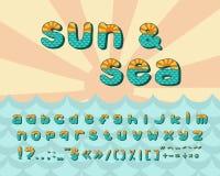 Alphabetseehorizont, Weinlesedesign Sun-Strahlen und aquamarine Farbe der Meereswellen, Retrostil Gussvektortypographie vektor abbildung