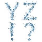 Alphabetwassertropfen YZ!? Lizenzfreies Stockfoto