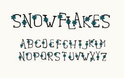 Alphabetwinterdesign Handstift Serifguß, Linie Art Englische Sprachbuchstaben Schriftbildclipart, Vektor lizenzfreie abbildung