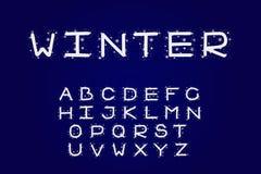 Alphabetwinterdesign Schriftbildclipart, Linie Art Englische Buchstaben Gussvektortypographie Hand gezeichnet ENV 10 stock abbildung