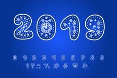 Alphabetwinterdesign Zahlen und Interpunktionszeichen ENV 10 lizenzfreie abbildung