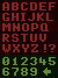 Alphanumeric Alphabet Font LED Display On Black. Alphanumeric LED Display On Black, alphabet letters in red and numbers, digits in green LED lights on a black Stock Images