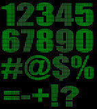 Alphanumeric background. The green background of the text figures Stock Images