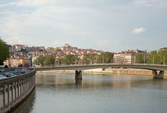 Alphonse Juin bridge, Saone river, Lyon, France Stock Image