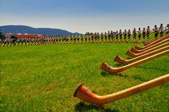 Alphorn blowers Royalty Free Stock Photo
