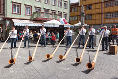 Alphorn Performance in Appenzell Stock Images