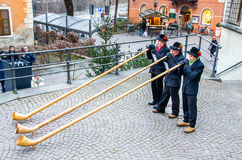 Alphorn players Stock Image