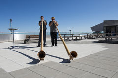 Alphorn players at Pilatus Kulm, Mount Pilatus stock photos