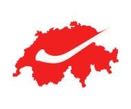 Alphorn on Swiss map Stock Photos