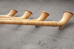 Alphorns en Suisse Photo stock