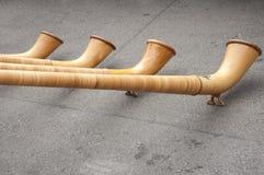 Alphorns i Schweiz Arkivfoto