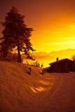 Alpi al tramonto - Poira (Valtellina) - l'Italia Fotografie Stock Libere da Diritti