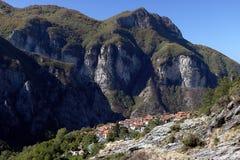 Alpi Apuane, Massa Carrara, Tuscany, Italien Panoramautsikt av th royaltyfria bilder