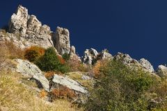Alpi Apuane, Massa Carrara, Tuscany, Italy. Autumn vegetation royalty free stock photography