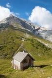 Alpi - ascesa sul picco di Watzmann e su poco chale - la Germania Fotografie Stock