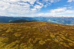 Alpi austriache catena montuosa, valle, montagne nevose del ghiacciaio, v Fotografia Stock Libera da Diritti