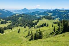 Alpi bavaresi con il Mountain View e prati nel Allgau Fotografie Stock Libere da Diritti