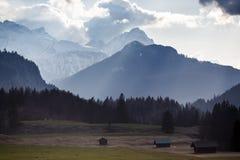 Alpi bavaresi durante il giorno nuvoloso Fotografia Stock Libera da Diritti