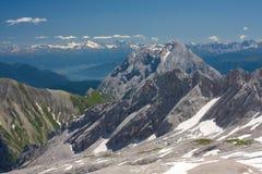 Alpi bavaresi. Vista da Zugspitze Fotografia Stock