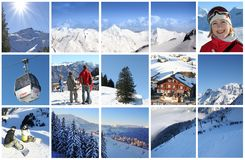 Alpi in collage fotografia stock