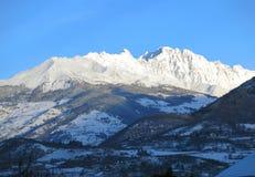 Alpi in d'Aosta di Valle nel lato italiano Immagine Stock