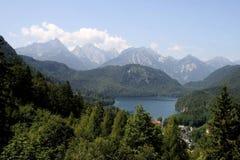 Alpi dal castello di Neuschwanstein Fotografie Stock