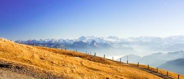 Alpi dalla cima del kulm di Rigi, Svizzera Fotografie Stock