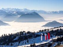 Alpi dalla cima del kulm di Rigi, Svizzera Immagine Stock