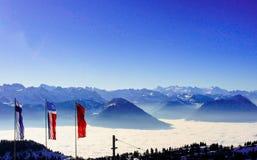 Alpi dalla cima del kulm di Rigi, Svizzera Fotografia Stock