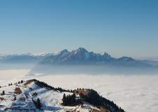 Alpi dalla cima del kulm di Rigi, Svizzera Immagine Stock Libera da Diritti