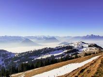 Alpi dalla cima del kulm di Rigi, Svizzera Fotografie Stock Libere da Diritti