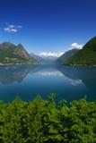 Alpi del lago e dello svizzero lugano, il Ticino, Svizzera Fotografia Stock