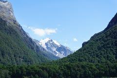 Alpi del sud dal bordo del fiume del dardo sulla pista di Rees nel parco nazionale d'aspirazione del supporto, Otago Fotografie Stock