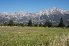 Alpi del sud vedute dalla stazione ferroviaria di Springfield Fotografia Stock