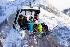 Alpi dell'Austria dell'ascensore di sci Fotografia Stock Libera da Diritti
