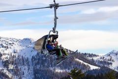 Alpi dell'Austria dell'ascensore di sci Immagine Stock Libera da Diritti