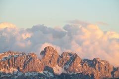 Alpi della dolomia al tramonto Fotografie Stock