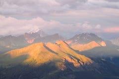 Alpi della dolomia al tramonto Immagine Stock
