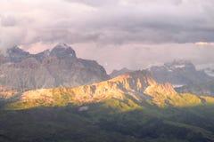 Alpi della dolomia al tramonto Fotografia Stock