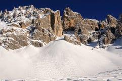 Alpi delle dolomia che sciano in Trentino Italia Fotografia Stock Libera da Diritti
