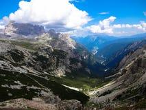 Alpi delle dolomia, italiano, vista da Tre Cime Immagine Stock