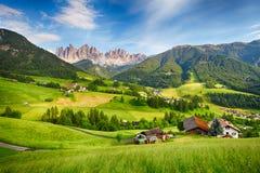 Alpi delle dolomia, montagna - Val di Funes Fotografia Stock Libera da Diritti